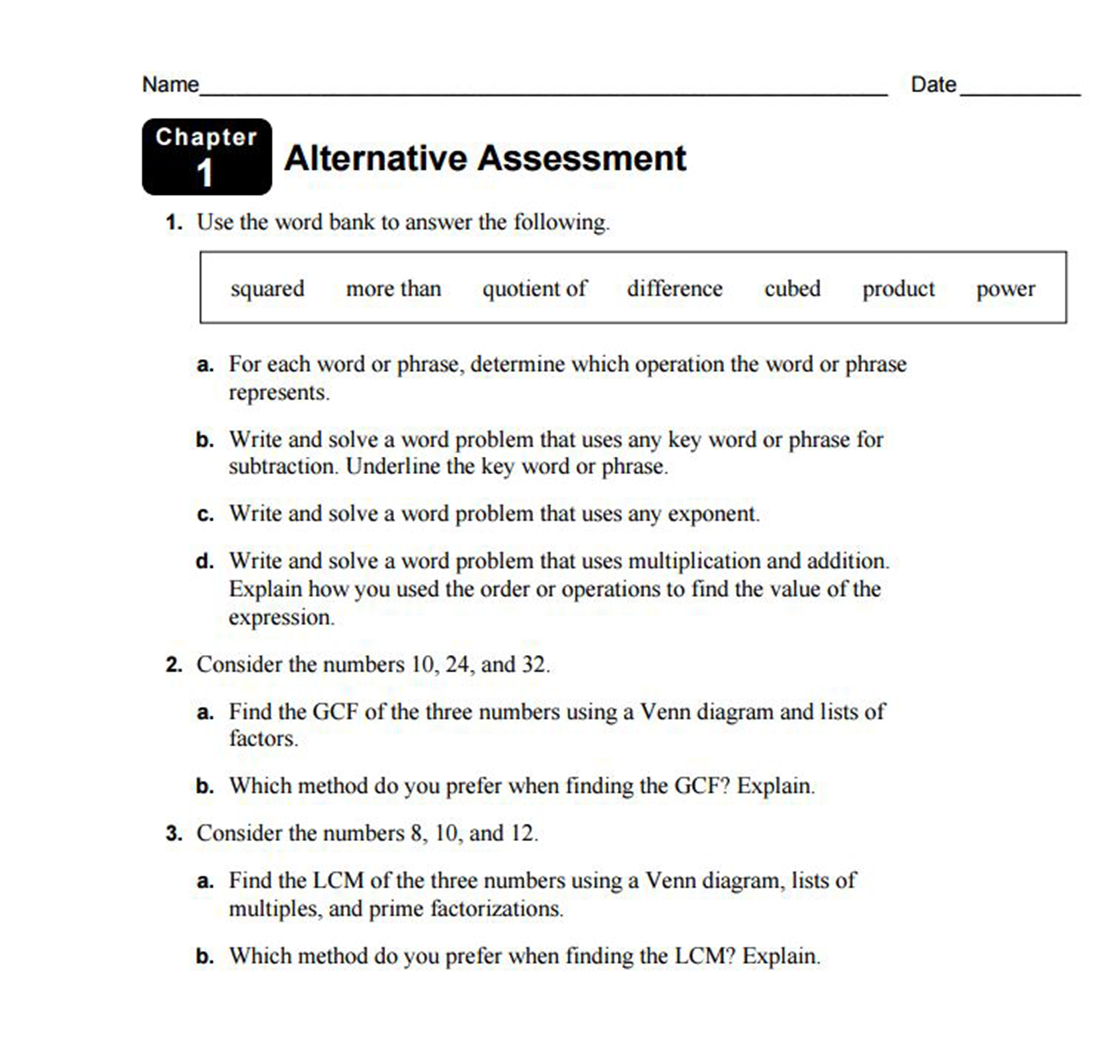 Diagnostic High School Math test